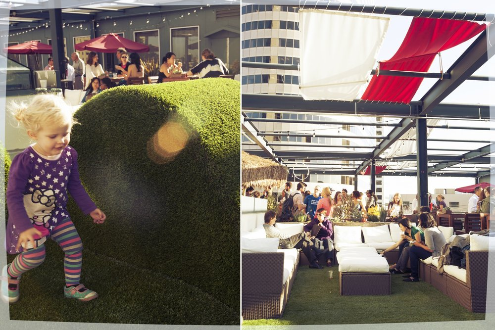 The roof deck with all its fun and relaxing ammenaties works perfectly for parties and office gatherings.