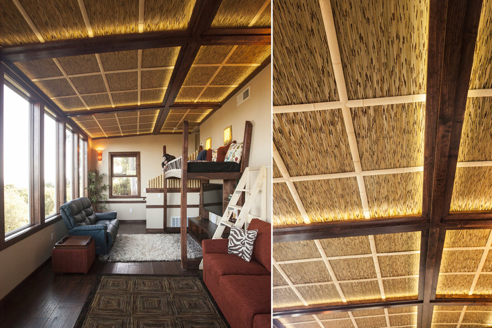 The new thatch ceiling has a recessed LED lighting to add to the interior aesthetic.