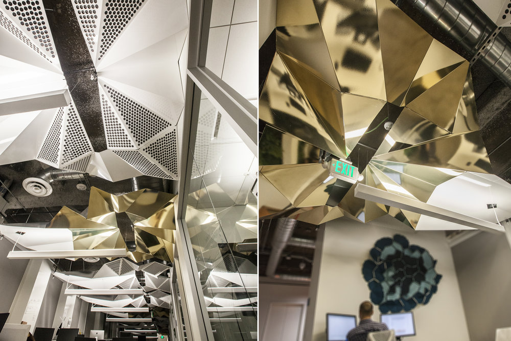 We were brought into the design team early on this office renovation project, and worked closely with the owners & Architect to create this bespoke ceiling for this downtown Oakland, CA office.