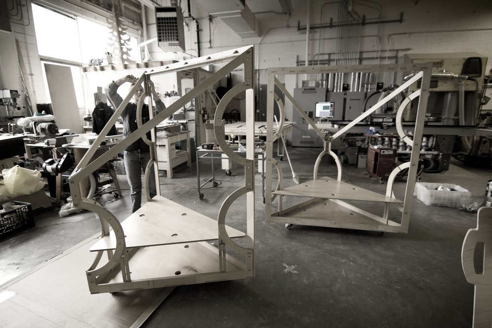 The short throw screens in fabrication.