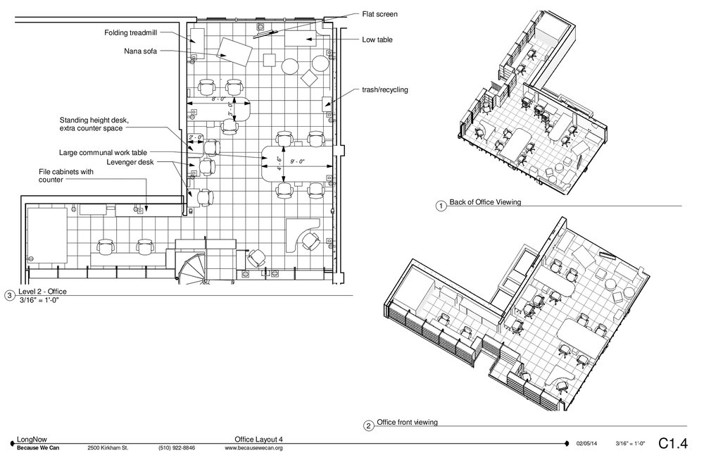 Floor plan of the upstairs office, we allowed flex space and floating desks in this small office floor plan.