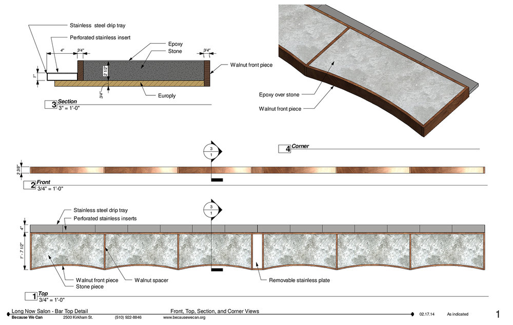 Our fabrication details for the bar construction.