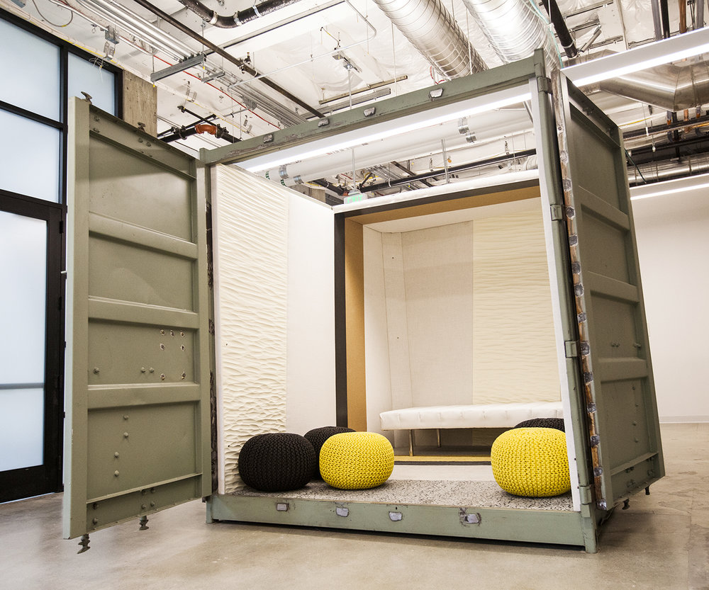 The final material wrapped lounge in its location at the Google X lobby.