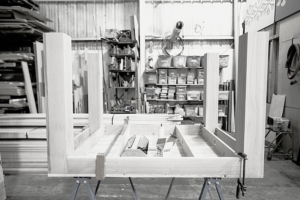 A table glue up out of oak at our fabrication shop, this table was for The Autodesk Gallery in Onterio, CA. After seeing the tables in San Francisco Gallery they decided they needed some for themselves.