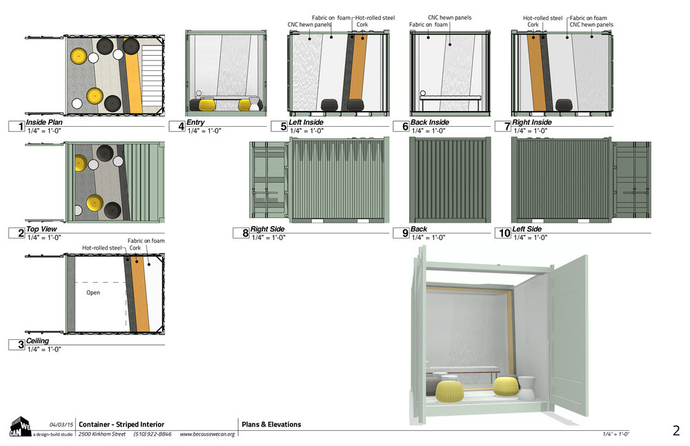 Schematic drawings for client review for the material wrap panels design.