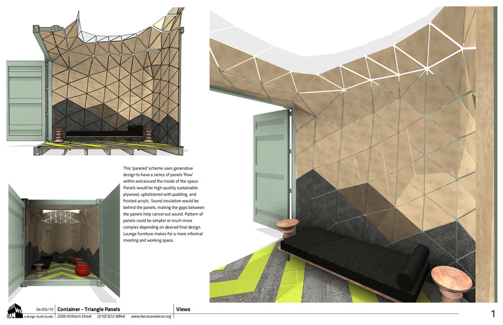 his 'paneled' scheme uses generative design to have a series of panels 'flow' within and around the inside of the space. Panels would be high-quality sustainable plywood, upholstered with padding, and frosted acrylic. Sound insulation would be behind the panels, making the gaps between the panels help cancel out sound. Pattern of panels could be simpler or much more complex depending on desired final design. Lounge furniture makes for a more informal meeting and working space.