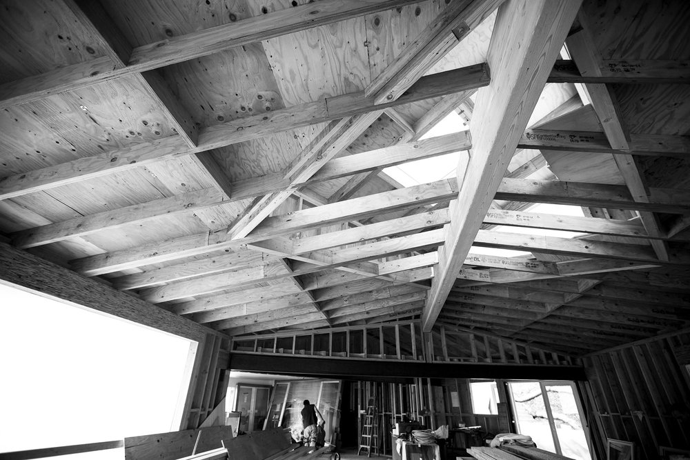 Building out the skylight, we chose to show off the construction and keep the beams exposed.