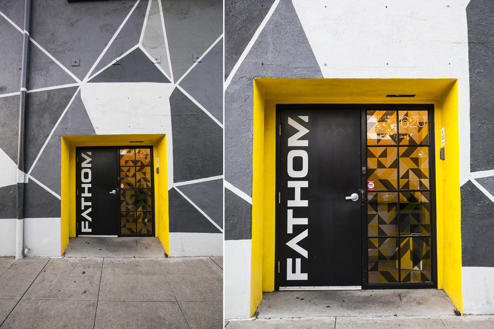 This bright yellow accent on the doorway helps with wayfinding and just looks really great.