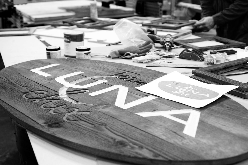 The LunaChix sign being created at our shop.