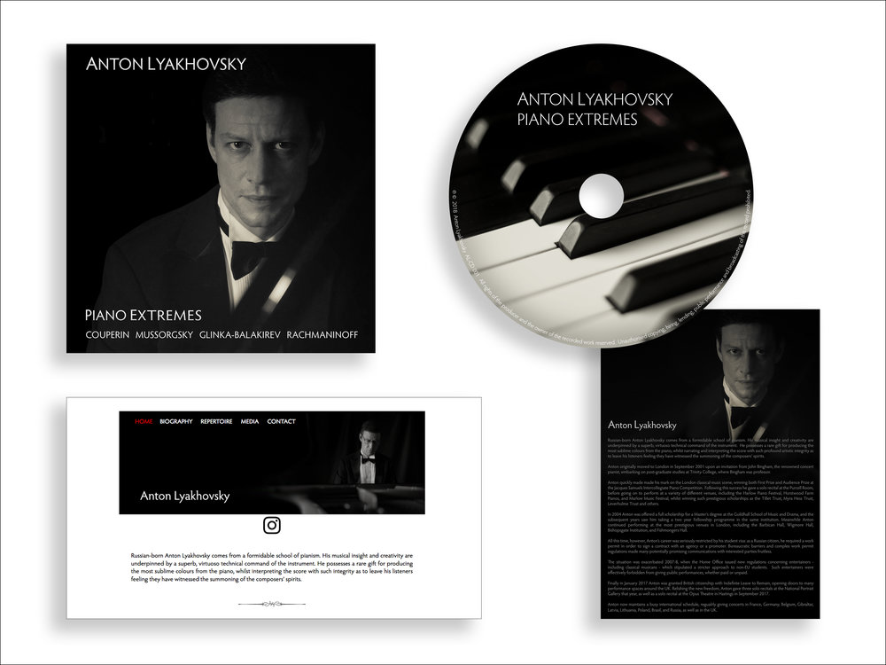 Anton Lyakhovsky CD cover and disc, website design, press release