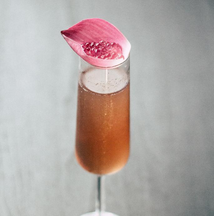 Oriente Caliente - 2oz Candela2oz Yuzu Liqueur2oz ProseccoServe in Champagne Flute