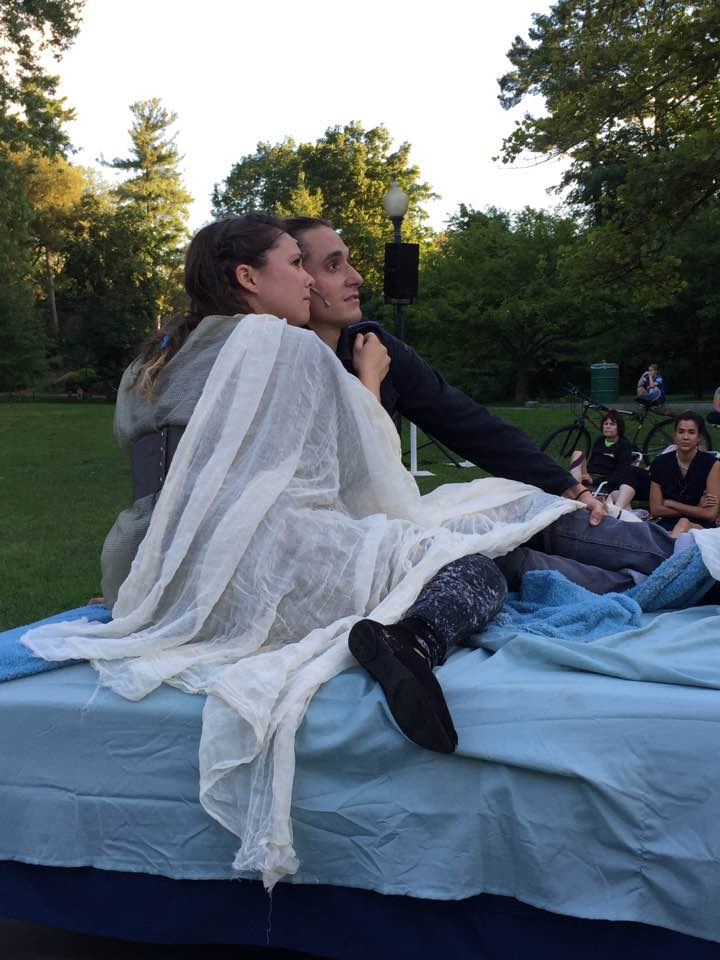 Raya Malcolm (Juliet) and Ethan James Botwick (Romeo) in Saratoga Shakespeare's Summer 2016 hit production of  Romeo & Juliet
