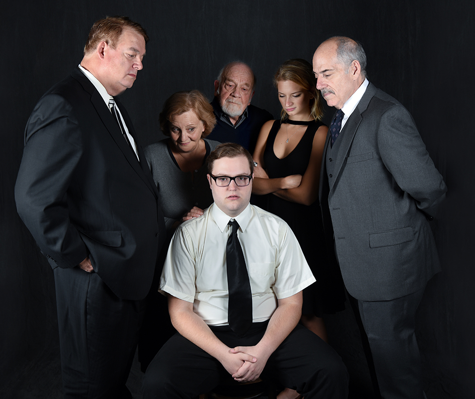 The cast of Harold Pinter's  The Birthday Party . (Left to Right: Bryon Nilsson, Eileen Schuyler, Patrick Quin, Lucy Miller, John Romeo. Center: Shayne David Cameris