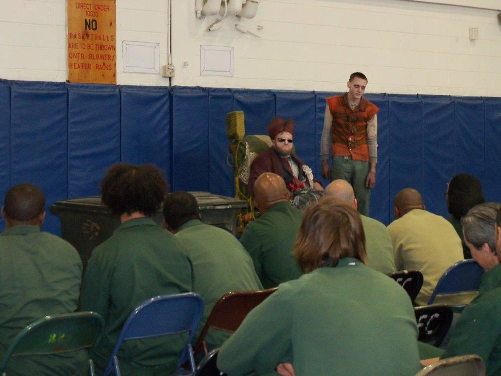 Actors Shayne David Cameris and Michael Sinkora perform  Endgame  for inmates at Greene Correctional Facility.