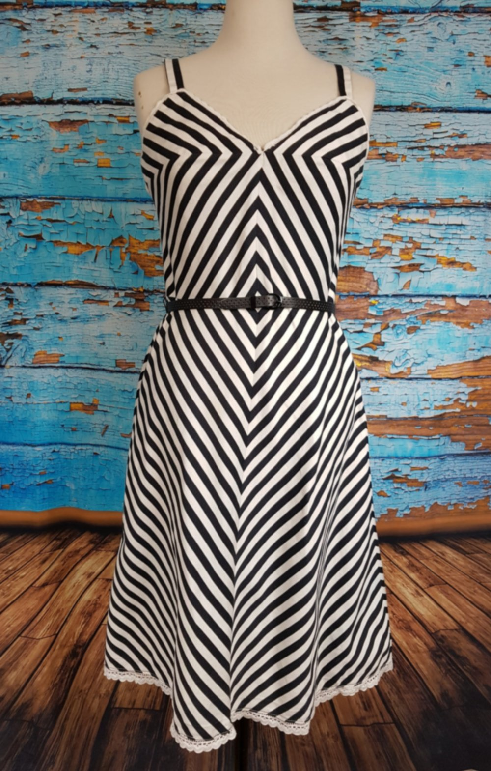 70s / 80s black and white striped dress,