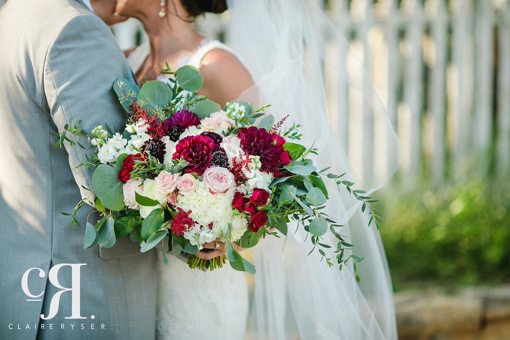 Large Garden Bouquet  Style: rustic, garden, fall Details: mixed greenery, dahlias, astilbe, spray roses, hydrangea, scabiosa   {Photo courtesy of  Claire Ryser }