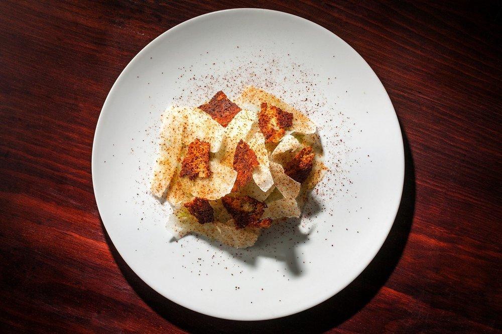 Milhojas de jícama, restaurante Evoka