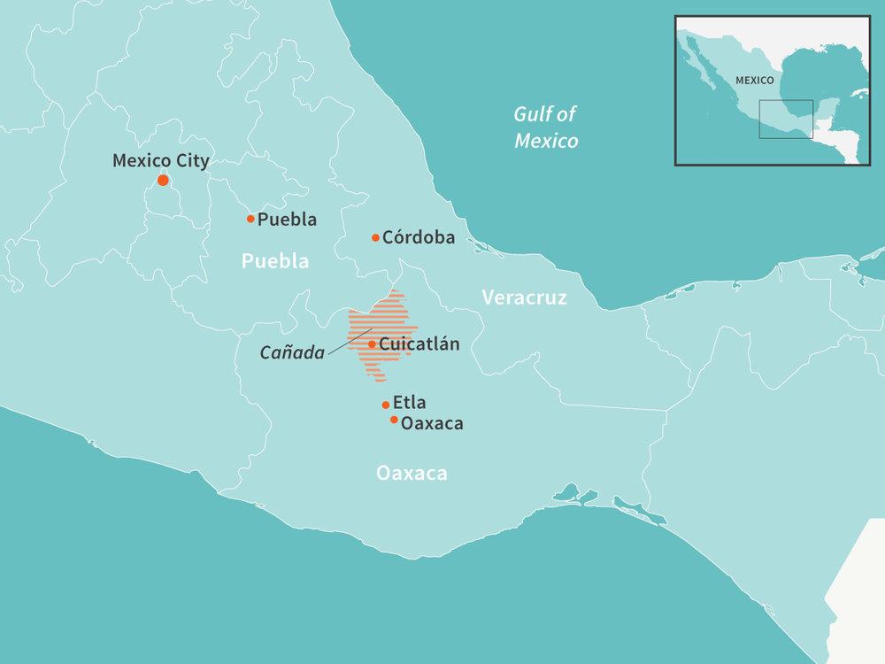 La Cañada de Oaxaca es la cuna del chilhuacle, un chile con un estatus casi sagrado en la cocina de la región. Mapa: E. Wikander/Azote.