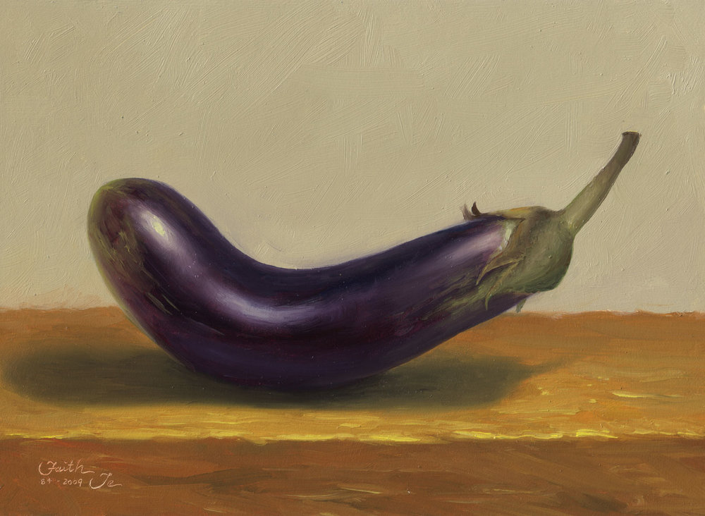 Faith Te, Eggplant No. 2, Oil painting on gessoed matboard, 2009