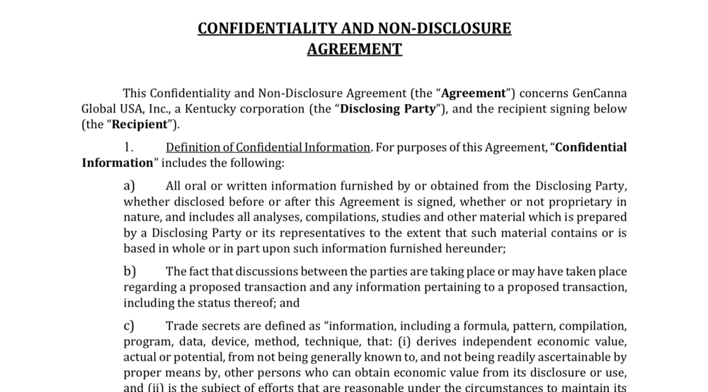 Confidentiality Agreement  -