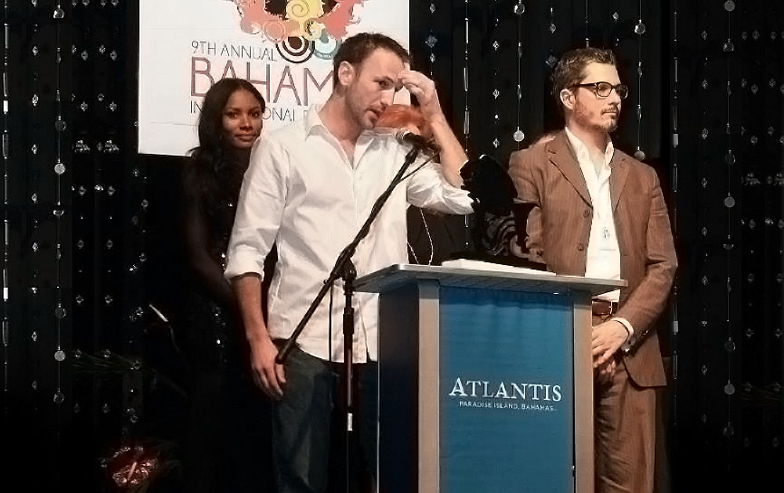Michael Wolfe and Dominik Tiefenthaler at the 2012 Bahamas International Film Festival. Winner Best Feature.