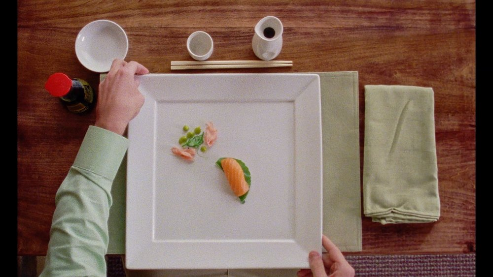 A perfect plate of sushi in THAT UNUSUAL BRICK. (Official film still)
