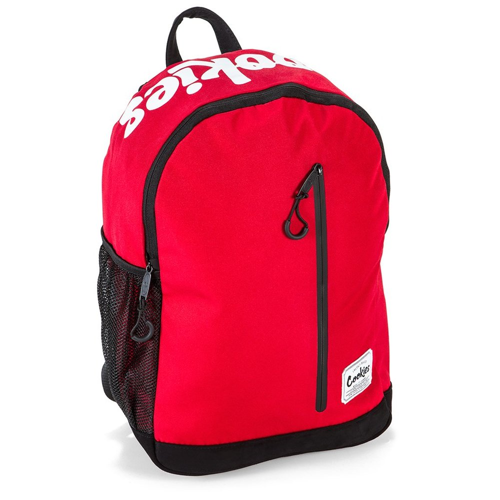 """COMMUTER BACKPACK - ° SCREENPRINT LOGO° WOVEN LABEL° POLYESTER° SMELL-PROOF° DOUBLE ZIPPER° """"U"""" BUNGEE PULLS° MESH POCKETS° PADDED SUEDE BOTTOM"""