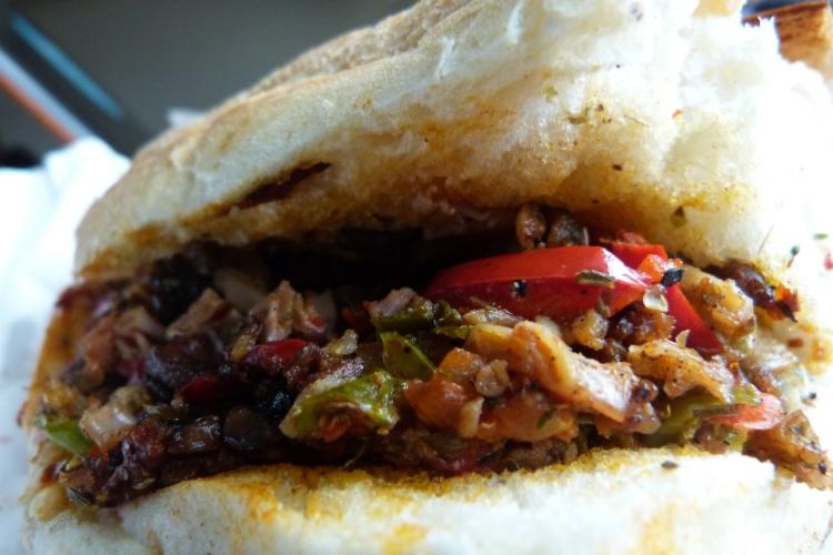 A kokorec sandwich.