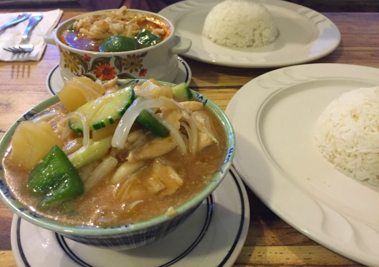 Pad priew wan with chicken (front) and red curry with squid (back).