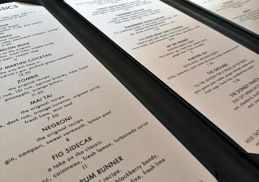 A sampling from the three-page cocktail menu. Bistro 197 also features a lengthy beer and wine list.
