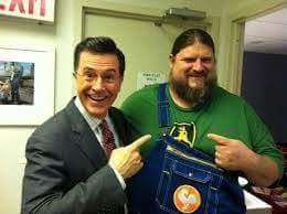 Blake posing with TV host and comedian Stephen Colbert.