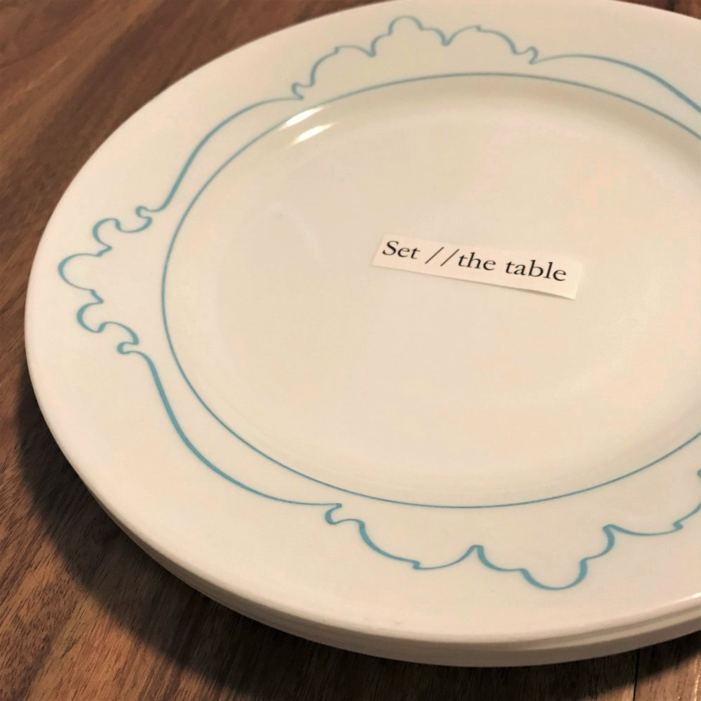 Set //the table title plate, Jennifer Lobaugh, 2018