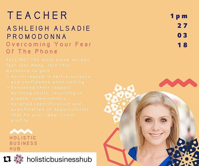 #Repost @holisticbusinesshub ・・・ TEACHER ANNOUNCEMENT!!! @ceo_turned_mumma (formally Hoult) Is known as the Cold Calling Queen, Professional Speaker and Sales Strategist  Ashleigh is the Founder and Director of Melbourne-based sales and marketing firm @thepromodonna. The business creates high quality B2B sales leads and meetings through cold calling and prequalification for their clients.  Ashleigh has a passion for training both individuals and organisations, showing them just how to optimise their success during their business development and selling time.  Her training uses tried and tested strategies used by her team, along with NLP tactics and method acting skills to create the 'sales persona' they have always dreamed of playing.  During 'Overcoming Your Fear of The Phone', Ashleigh will show you just how to master the psychology of selling so that you can take your business to the next level in 2018! 'Overcoming Your Fear of The Phone' takes you through topics such as Developing A Clear Sales Model (as without one, you won't be able to close); as well as utilizing Neuro-Linguistics Programming techniques to overcome your fear of selling or lack of confidence in this area.  Come join Ashleigh's class at 1pm on 27th March 2018  Holistic Business Hub - Launch  #smallbusinessowner #smallbusiness #holisticbusiness #holisticbusinesscoach #holisticbusinesshub #unstoppablefreedom #melbourneeventvenue #melbourneevents #melbourneevent #baysidebusiness #hbhlaunch #holisticbusinesshublaunch