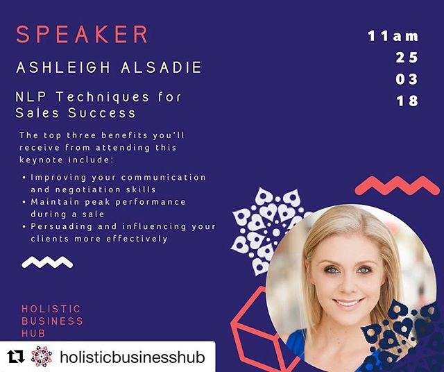 """#Repost @holisticbusinesshub ・・・ SPEAKER ANNOUNCEMENT!!!! @ceo_turned_mumma is the PromoDonna, she is the person that raising her hand high when someone asks """"Who here LOVES sales""""  After all, """"Sales is what makes the world goes round…if you want to succeed in sales you must learn how to change the way you use your brain and your subconscious mind."""" ~ Jordan Belfort, (the real Wolf of Wall Street)  There is a scientific way to increase sales performance, the main idea being to expand your cognitive capacity. Instead of mainly using your conscious awareness as most people do, you need to tap into your subconscious mind.  Wouldn't you love to walk into any sales meeting with techniques that could help you to build instant rapport with your prospects?  During this keynote, Ashleigh Alsadie is going to take you through exactly that.  Come see Ashleigh speak at 11am on 25th March 2018  Holistic Business Hub - Launch  #smallbusinessowner #smallbusiness #holisticbusiness #holisticbusinesscoach #holisticbusinesshub #unstoppablefreedom #melbourneeventvenue #melbourneevents #melbourneevent #baysidebusiness #hbhlaunch #holisticbusinesshublaunch"""