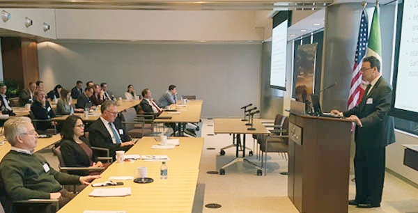 Hugo Dubovoy, International Law Partner at Baker & McKenzie and USMCoC Board Member, addresses the audience on NAFTA and Mexico's Actions to Prepare for the Future at the Mexico Tax, Legal, and Fiscal Update (2/13/2018).