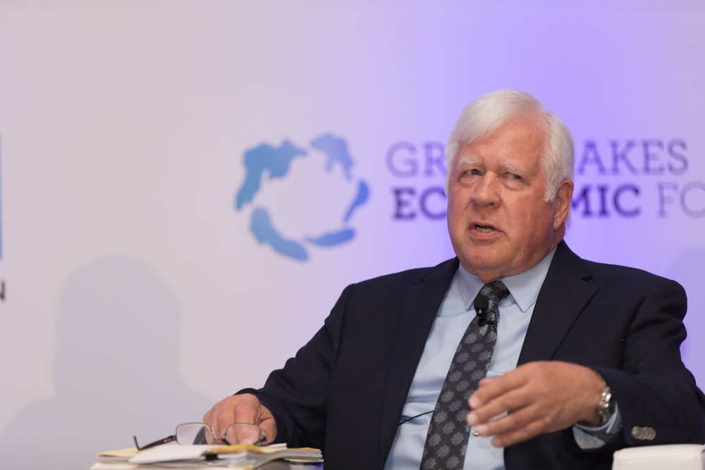 Ralph Biedermann answering a question on the NAFTA negotiations at the Great Lakes Economic Forum in Montreal , May 2018.