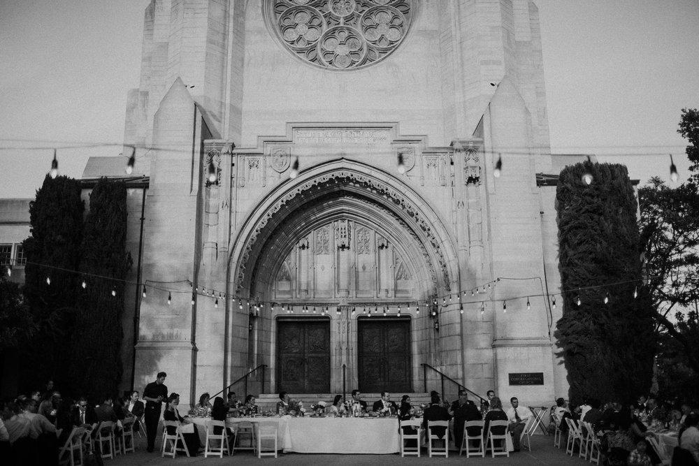 wedding reception in the church courtyard
