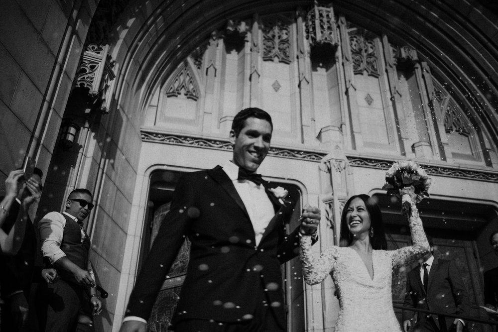 wedding photo outside of amazing catholic church in LA