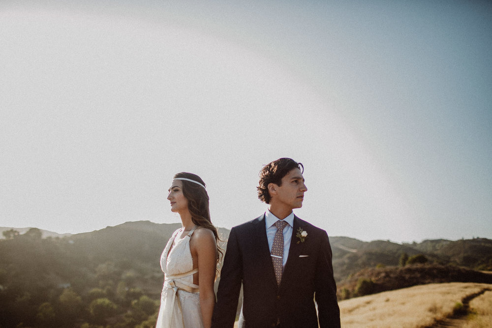 Malibu wedding photos at sunset in the hills of malibu california