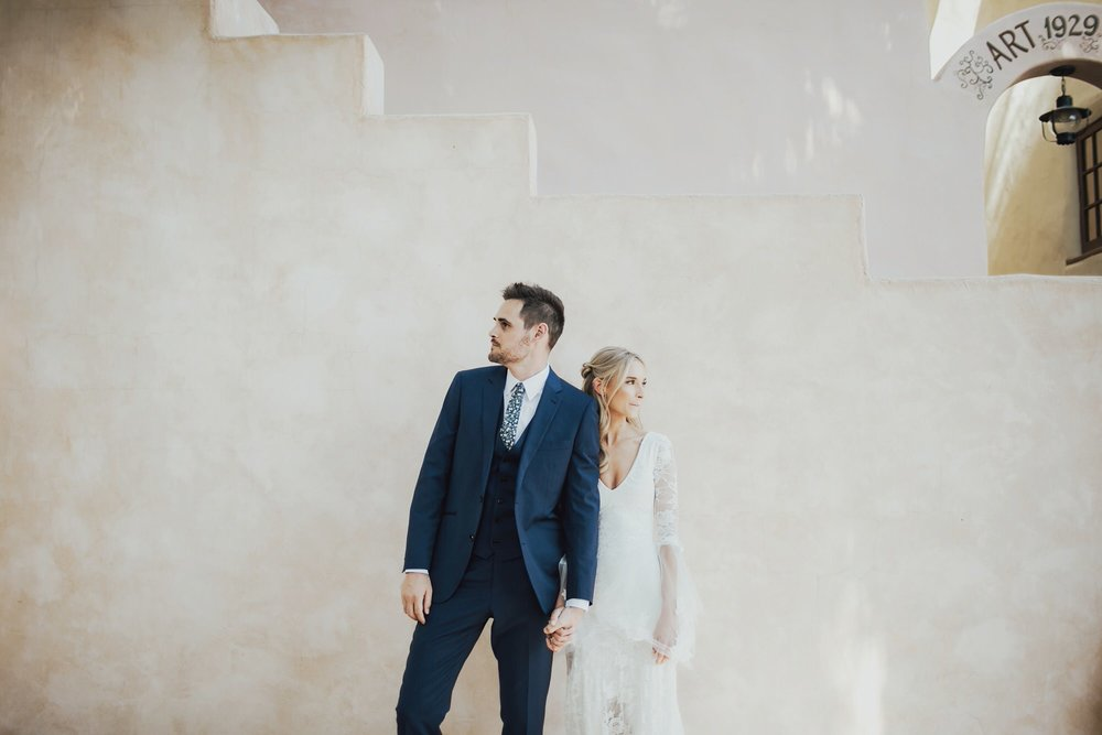 bride and groom portraits in palm springs california at colony 29 wedding venue