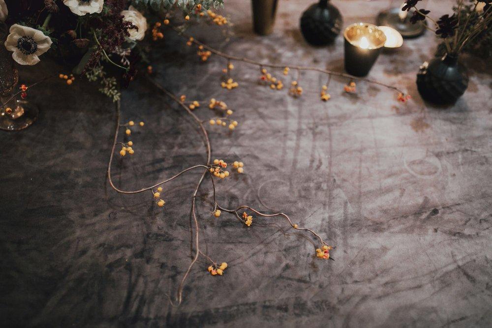 Velvet tablecloths at reception