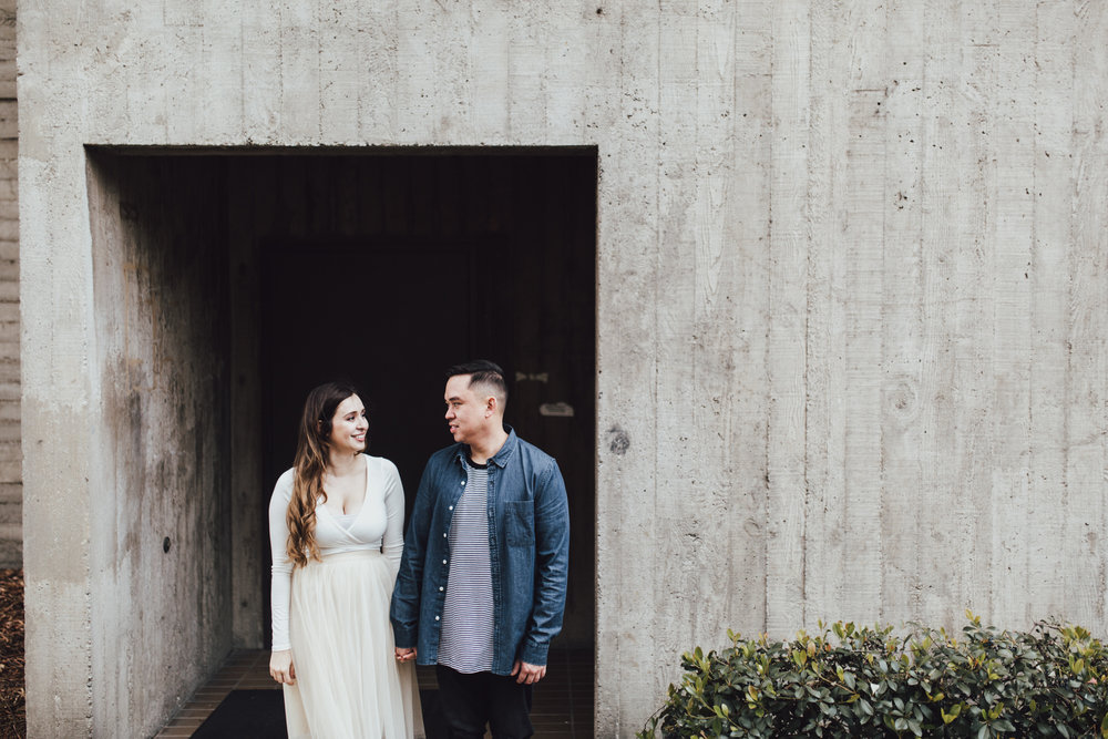 engagement photo with cool architecture