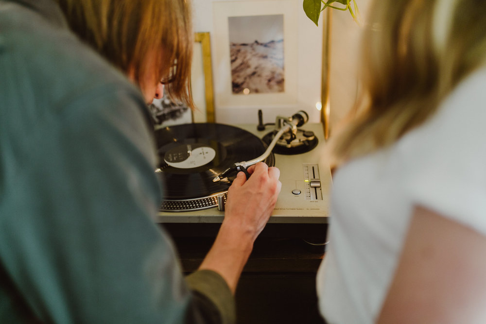 playing records during an engagement shoot