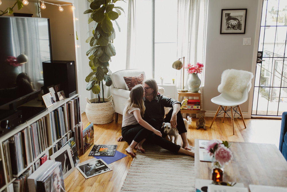 living room engagement photos