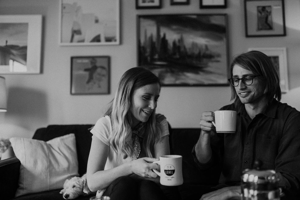 engagement photos with coffee