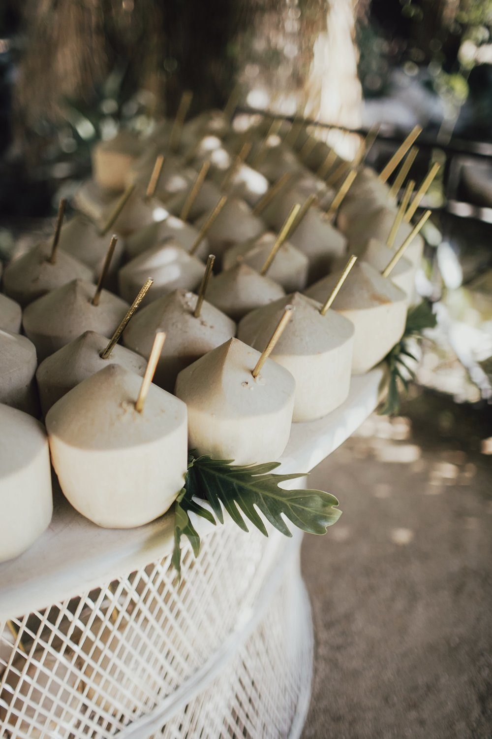 coconut refreshments for guests at the ceremony