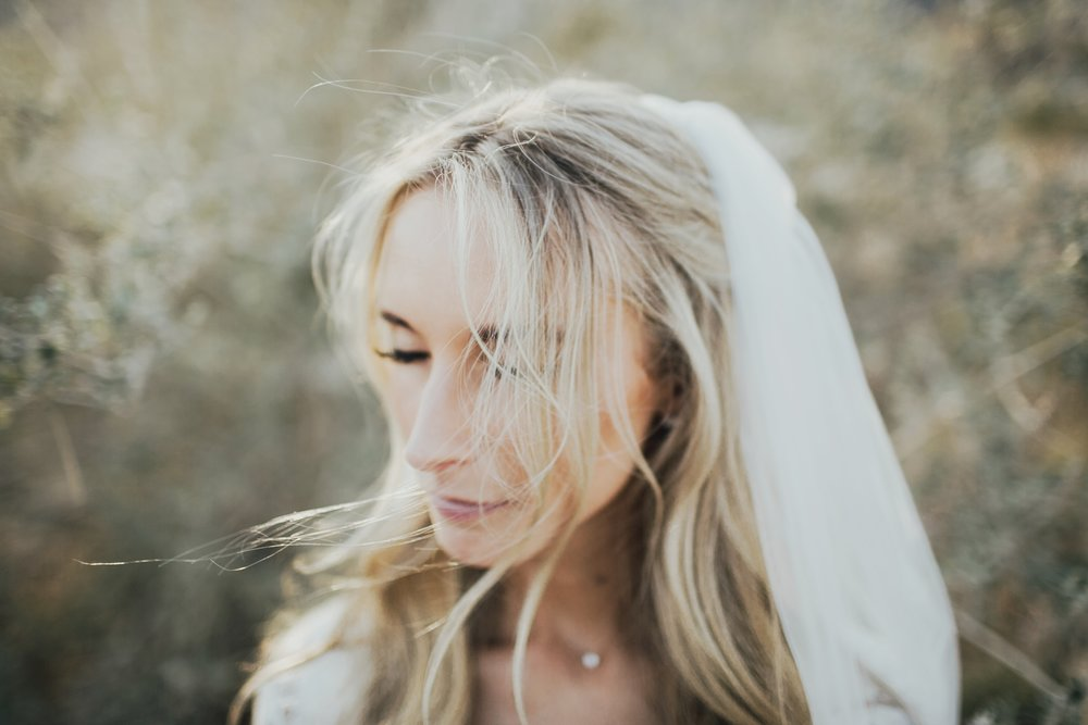 photos of the bride in the desert