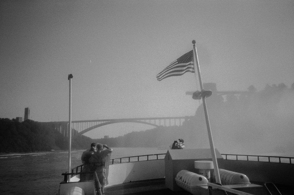 american flag at niagara falls