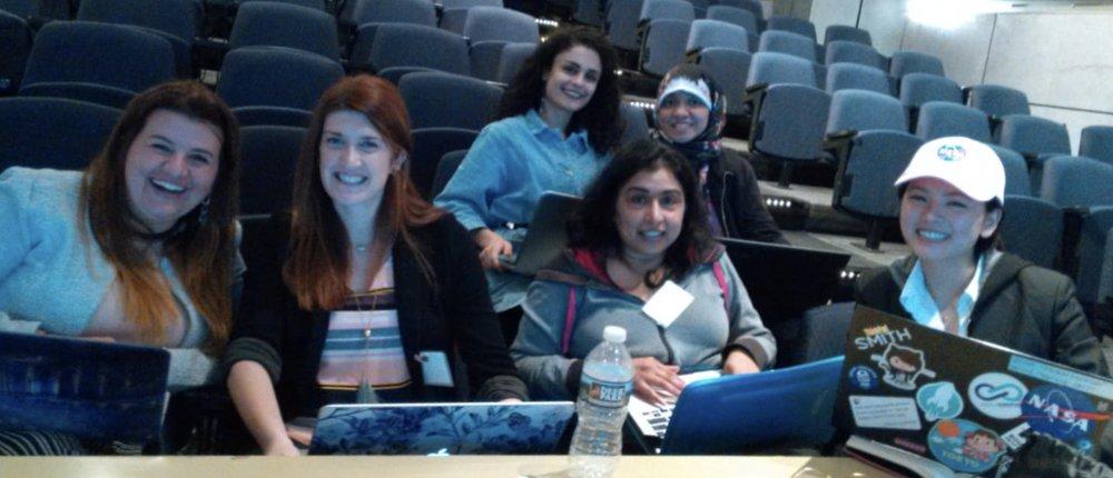 From left to right:  Lilian Carvalho , myself ( Laura Ellis ),  Elif Yüksel , Reshama Shaikh ,  Caroline Williams and  Louise Lai.   Image courtesy of my awesome team mate  Caroline Williams