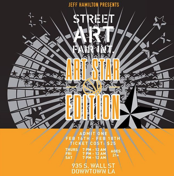 Street Art Fair|Art Star Edition! Three nights February 15th, 16th, and 17th! 7pm-12am  @jeffhamiltonjackets Studio in the  #lafashiondistrict .   Contact at streetartfairs@gmail.com